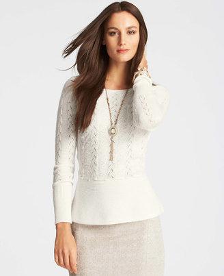 Ann Taylor Textured Peplum Sweater