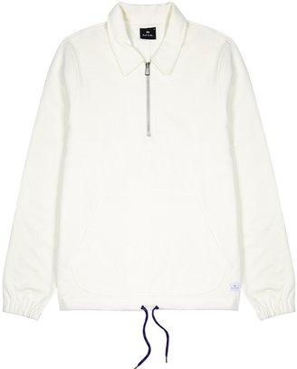 Paul Smith Off-white Half-zip Cotton-blend Sweatshirt