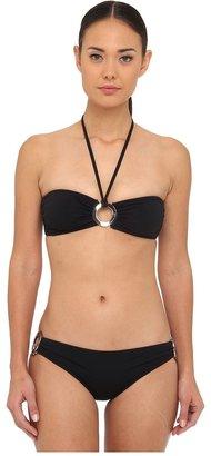 Michael Kors Michael Kor Collection Mut Have Solid Bandeau Bikini Top and Claic Bottom Set Women' Swimwear Set