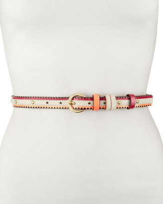 Neiman Marcus Studded Multicolor Belt, White/Fuchsia/Pink