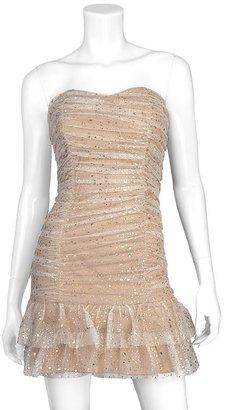 Iz Byer california foil flounce strapless dress - juniors