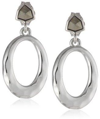 "Judith Jack Linked In"" Sterling Silver Hammered Oval Drop Earrings"