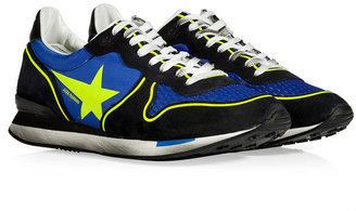Golden Goose Neon Yellow/Blue/Black Leather/Nylon Running Sneakers