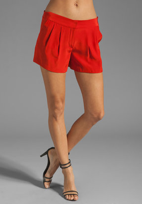 Milly Solid Silk Pleat Front Short