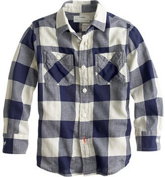 J.Crew Boys' lightweight flannel shirt in giant navy check