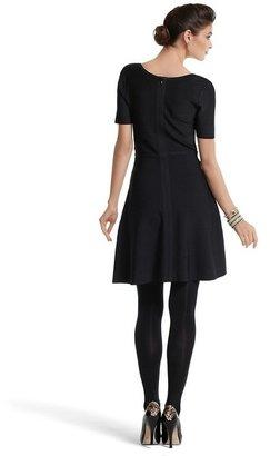 White House Black Market Black Banded Knit Skater Dress