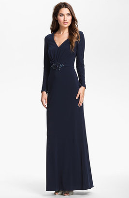Hilton Kathy Embellished Long Sleeve Jersey Gown