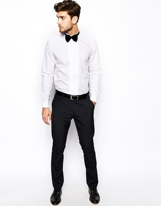 Asos Smart Tux Shirt In Long Sleeve With Pleat Front And Wing Collar