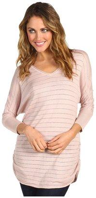 Calvin Klein Jeans L/S V-neck Rouched Tunic 12GG Jaden Jersey Plaited Stripe Sweater