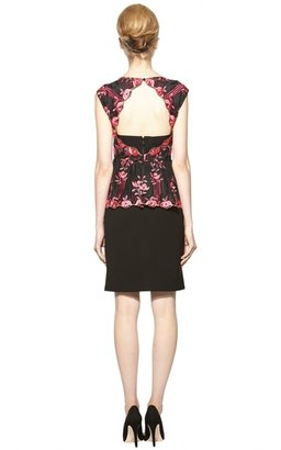 Alice + Olivia Shovan Lace Detail Peplum Dress