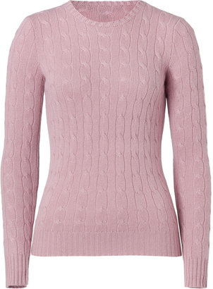 Ralph Lauren Black Label Soft Pink Cashmere Cable Pullover