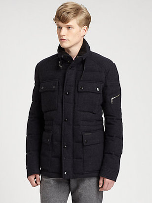 Burberry Tweed Down Military Field Jacket