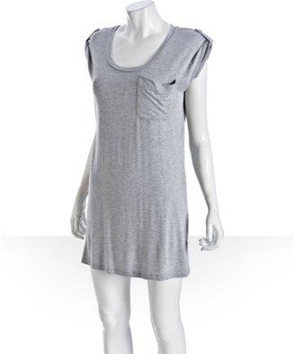 Wyatt grey jersey tab detail scoopneck pocket dress
