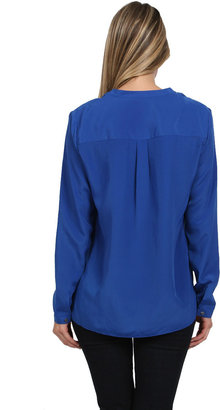 Zoa Rose Skin Button Front Shirt in Major Blue
