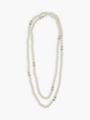 John Lewis & Partners Long Faux Pearl and Crystal Layered Necklace, White