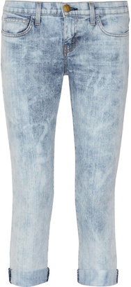 Current/Elliott The Cropped Roller mid-rise acid-wash jeans