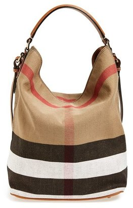 Burberry Medium Ashby Check Print Bucket Bag - Brown $795 thestylecure.com