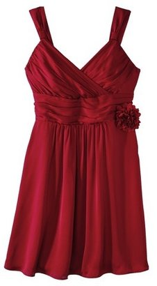 Women's Satin V-Neck Bridesmaid Dress w/Removable Flower Limited Availability Colors -TEVOLIO