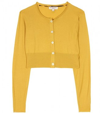 Burberry MUSTARD YELLOW CROPPED CARDIGAN