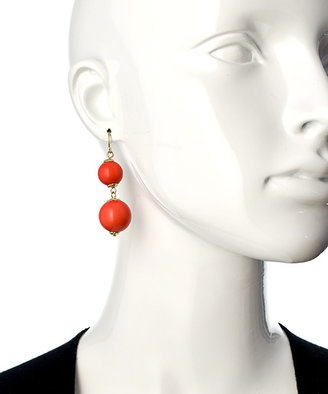 Blu Bijoux Gold And Coral Double Drop Earrings