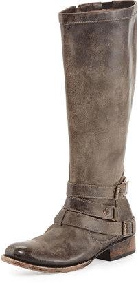 Freebird Irish Triple-Buckle Distressed Knee Boot, Stone