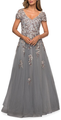 La Femme Beaded Lace Applique Tulle A-Line Gown