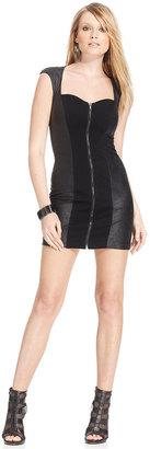 GUESS Faux-Leather Cutout Dress