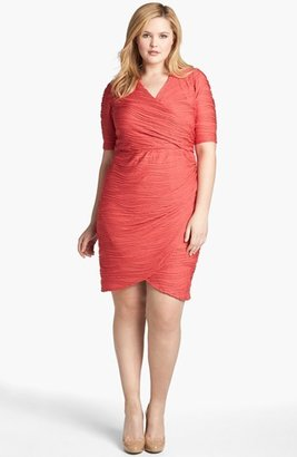 London Times Textured Short Sleeve Sheath Dress (Plus Size)