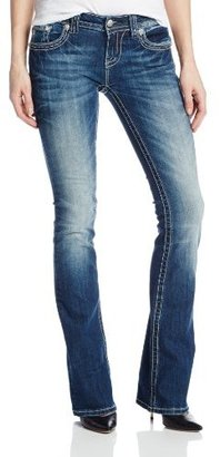 Miss Me Juniors Mid Rise Victorian Lace Flap Pocket Bootcut Jean