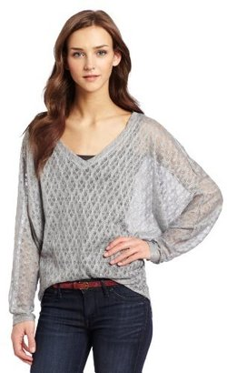 Necessary Objects Juniors Torn Look Pointelle Top
