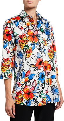 Caroline Rose Plus Size Fun Floral Relaxed Stretch Cotton Shirt