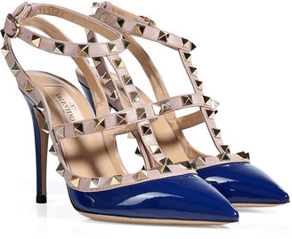 Valentino Leather Rockstud Pumps in Blue
