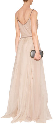 Collette Dinnigan Embellished Silk Organza Shoestring Gown in Blush