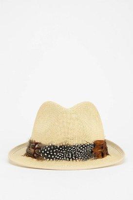 UO Straw & Feather Fedora Hat