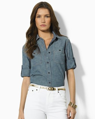 Lauren Ralph Lauren Carter Roll-Sleeve Cristo Chambray Woven Shirt