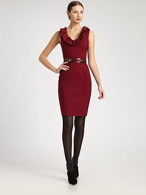 Oscar de la Renta Stretch Wool Jersey Dress