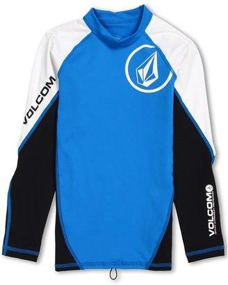 Volcom Colorblock L/S Rashguard (Big Kids) (Blue) - Apparel
