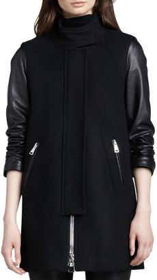 Milly Leather-Sleeve Zip Swing Coat