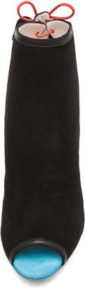 Webster Sophia Tali Suede Peep Toe Ankle Boot in Black, Turquoise, & Mandarin Red