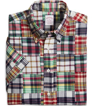 Brooks Brothers Regular Fit Patch with Multi Plaid Madras Short-Sleeve Sport Shirt