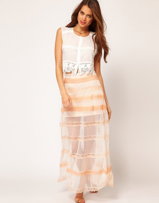 Asos Maxi Skirt in Mesh and Lace