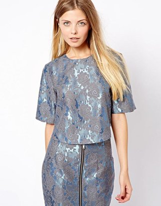 Asos Top in Lace Jacquard with Zip Back