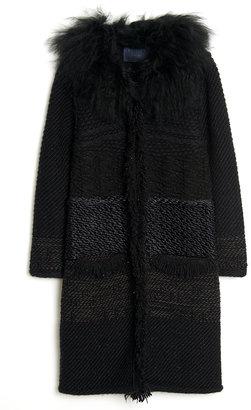 Lanvin Fur-Collar Panel Coat