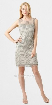 Adrianna Papell Illusion Chevron Beaded Cocktail Dresses