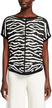Joan Vass Zebra Intarsia Pullover Sweater