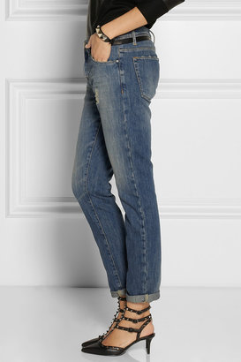 EACH X OTHER Leather-trimmed distressed mid-rise boyfriend jeans