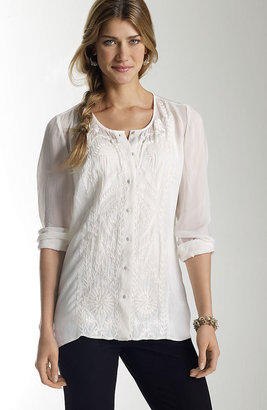 J. Jill Embroidered gossamer blouse
