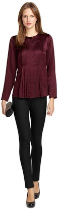 Brooks Brothers Long-Sleeve Double Pleated Silk Blouse