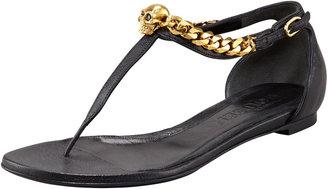 Alexander McQueen Skull-Chain Leather Thong Sandal, Black