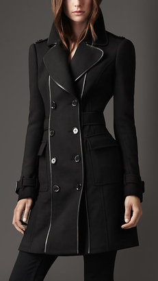 Burberry Leather Bound Wool Coat